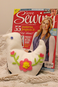 bird bookend love sewing