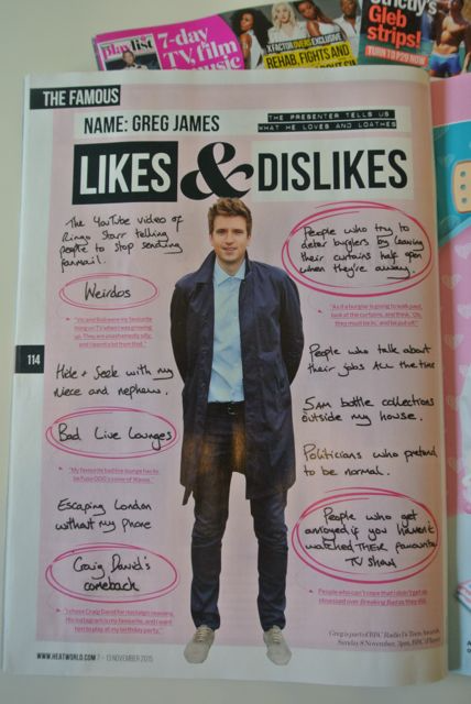 Heat magazine likes and dislikes Greg James