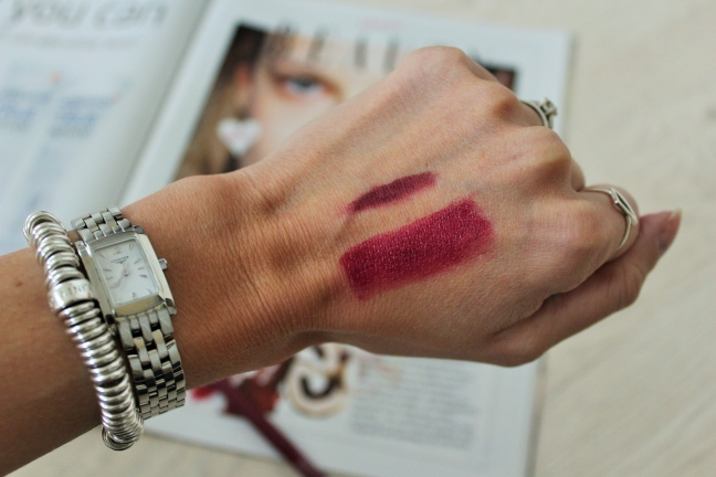 Grazia Swatches of Wine Coloured Lip Products