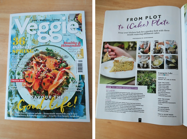 The cover of Veggie magazine and a recipe inside