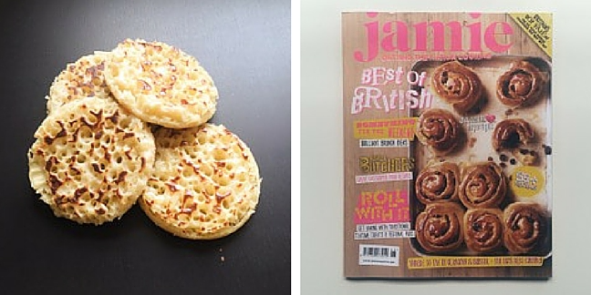 Cooked crumpets and Jamie magazine