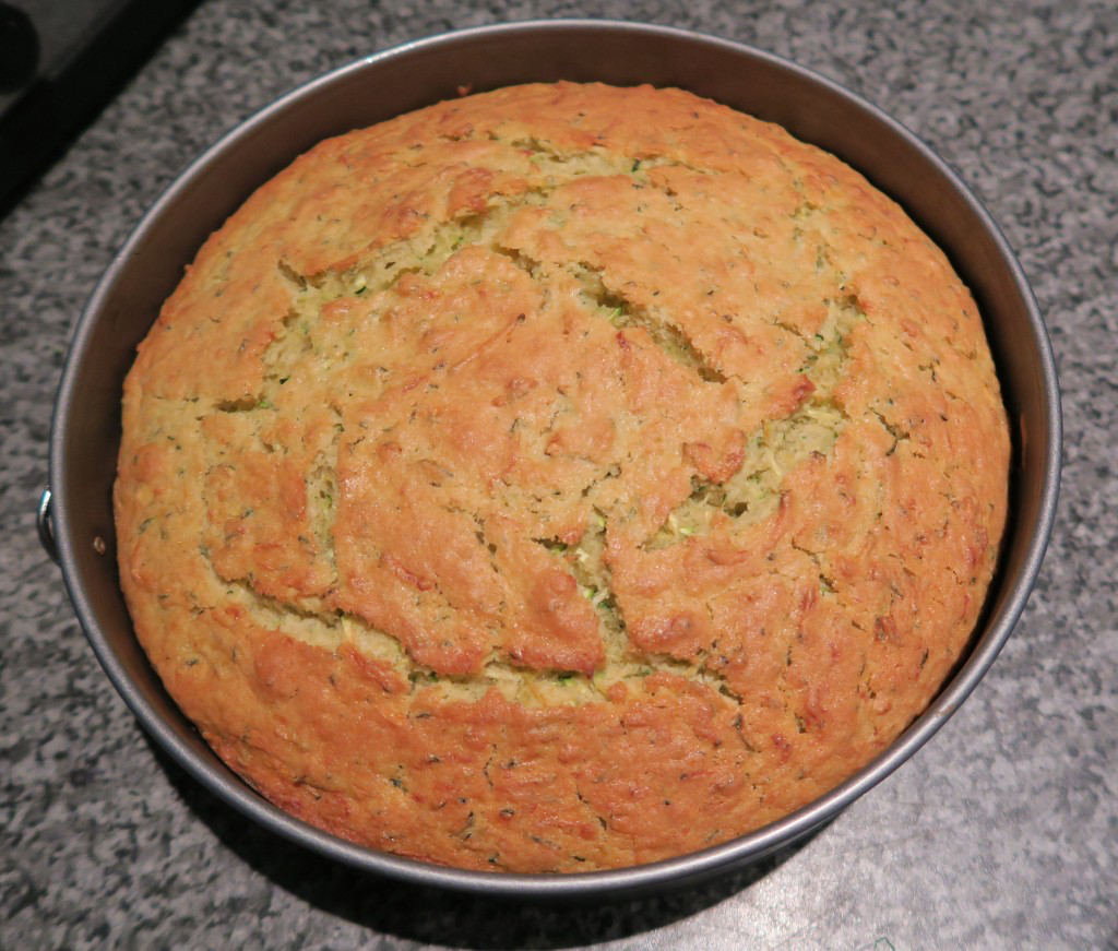 The courgette cake fresh from the oven