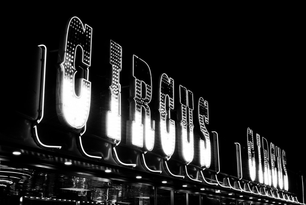 Black and white photograph of sign