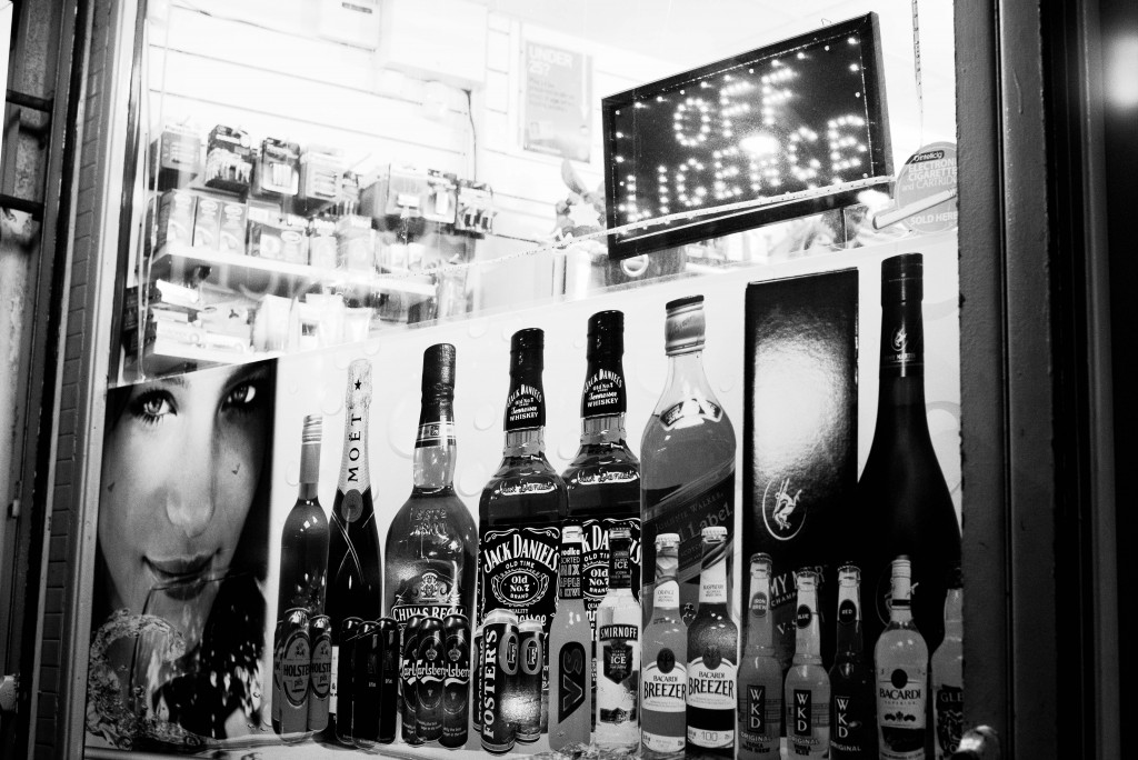 Black and white photograph of a shop window