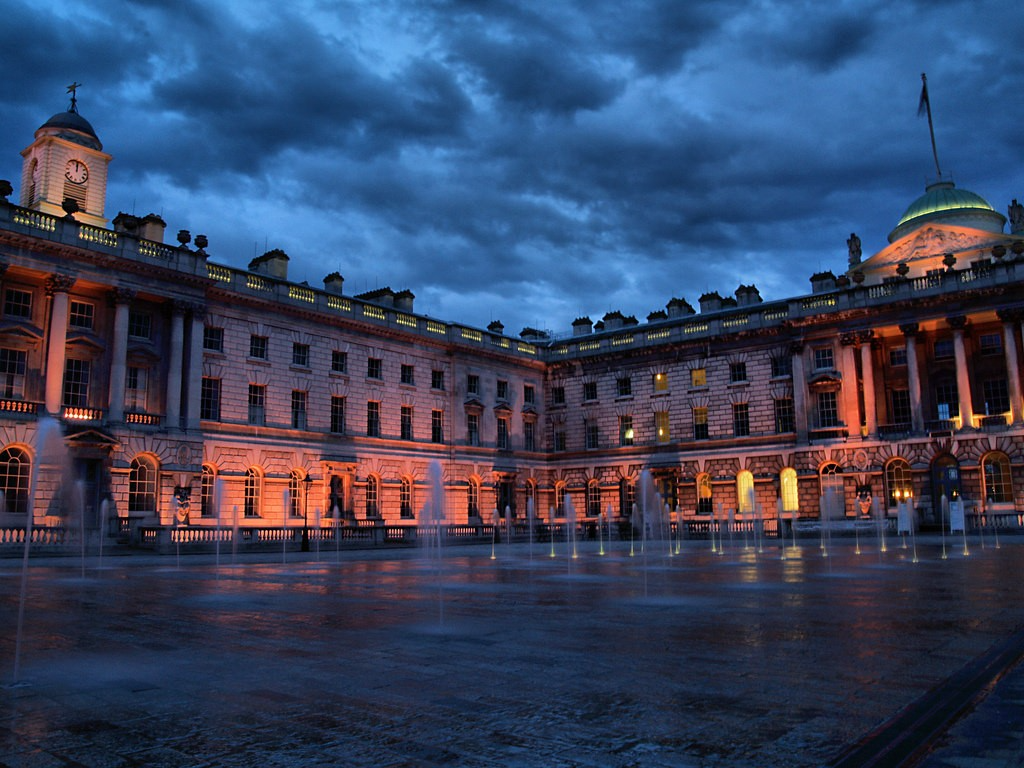 Somerset House let up during a stormy evening