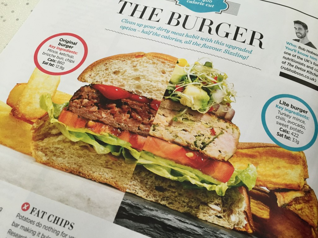 Woman's Health Magazine feature about a healthier burger recipe
