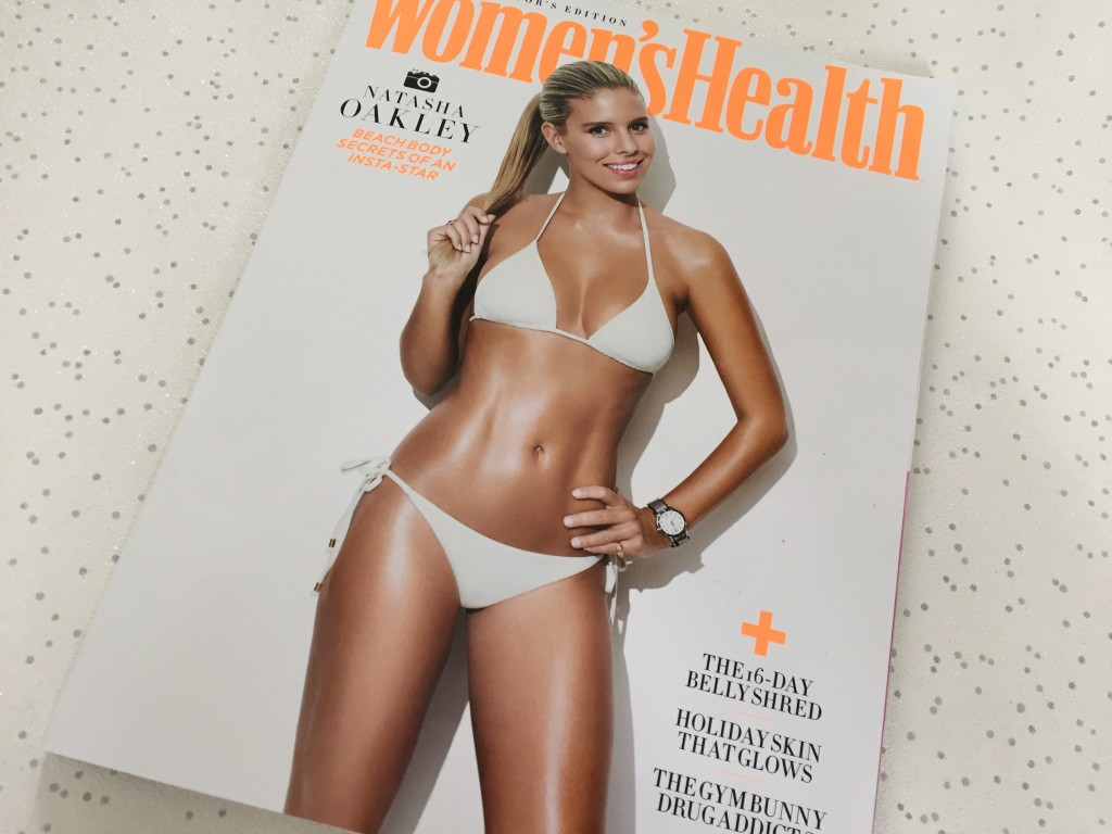 Woman's Health Magazine front cover featuring a healthy woman in a white bikini