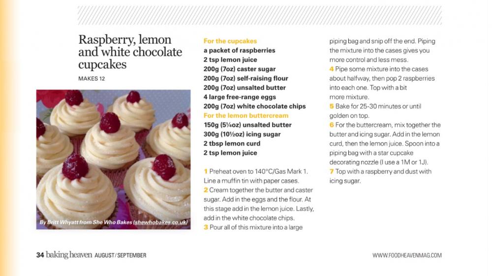 Baking Heaven Magazine's Raspberry, Lemon & White Chocolate Cucpcakes