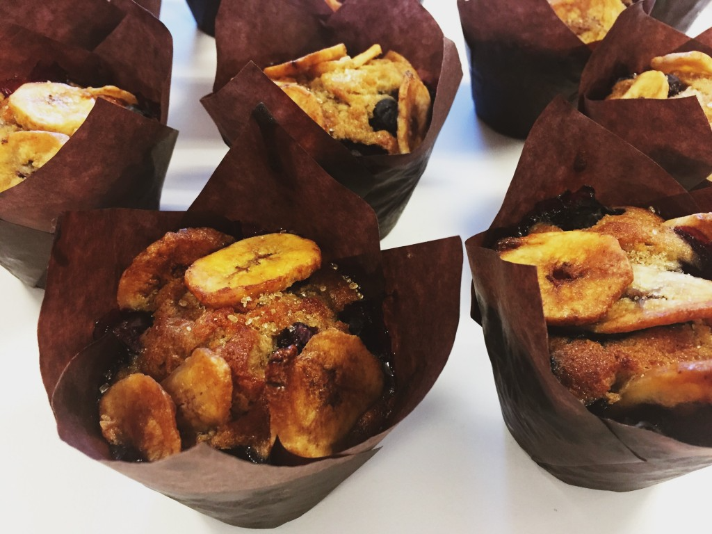 delicious banana blueberry breakfast muffins