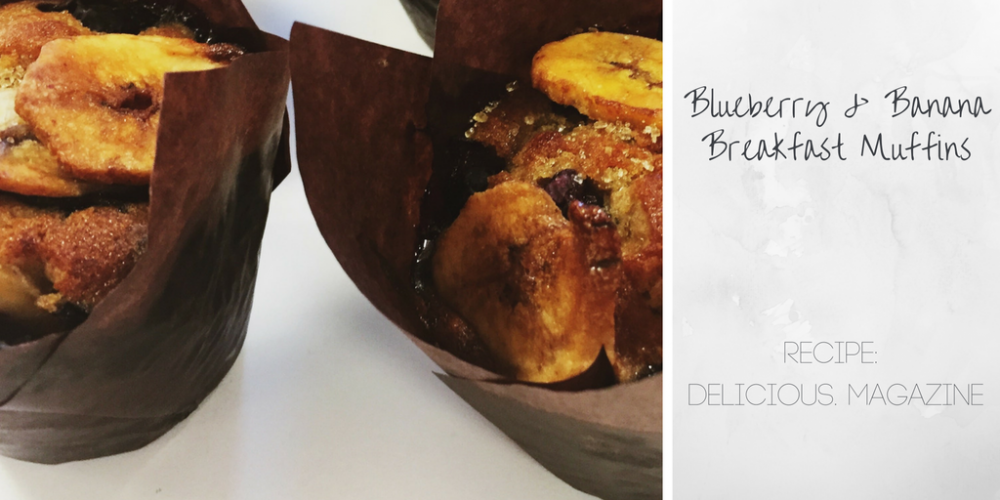 delicious magazine's breakfast blueberry and banana muffins