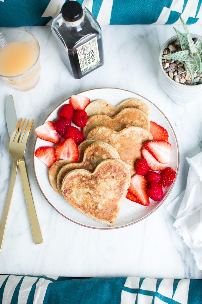 heart pancakes valentines
