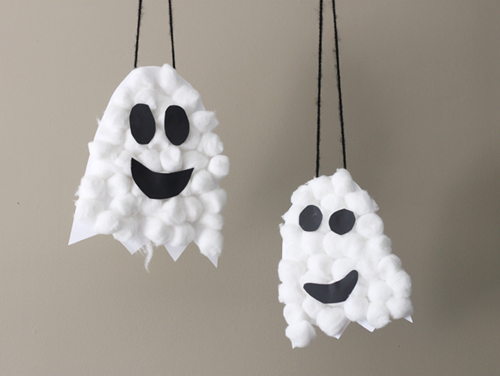Fluffy Ghosts | Easy Halloween Crafts for Kids